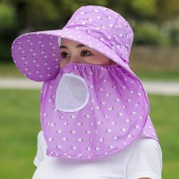 Anti Bacterial Protective Sun Protection Hat With Face Mask - Light Purple