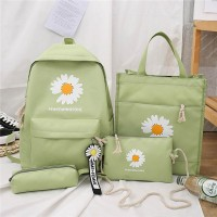 Floral Printed Five Pieces Fancy Handbags Set - Green