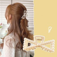 Girl Fashion Pearl Knitted Hair Clip - Beige
