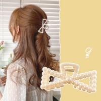 Girl Fashion Pearl Knitted Hair Clip - Beige