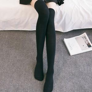 Stripes Print Fitted Long Socks - Black