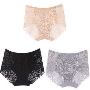 Lace Floral Textured Three Pieces Underwear - Multicolor