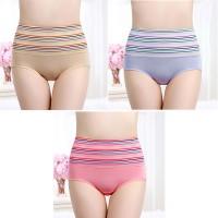 Stripes Printed High Waist Three Pieces Underwear Set