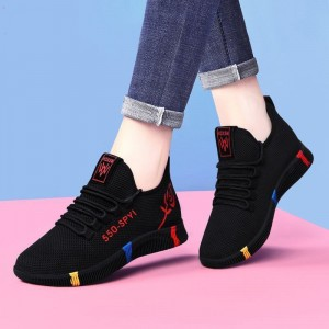 Lace Closure Sports Wear Casual Sneakers - Black