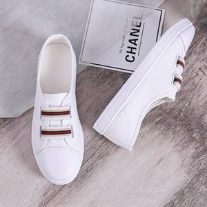 Strap Closure Rubber Base Sports Wear Sneakers - White