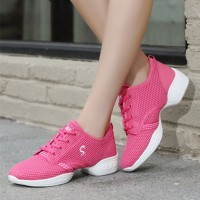 Lace Closure Mesh Breathable Soft Sole Sneakers - Hot Pink