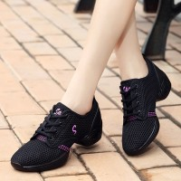Lace Closure Mesh Breathable Soft Sole Sneakers - Black