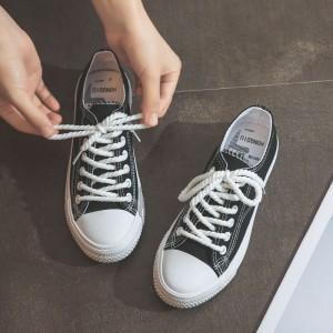String Lace Closure Fancy Soft Sports Wear Sneakers - Black