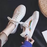 Lace Closure Rainbow Printed Sports Wear Sneakers - White