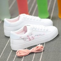 Thread Floral Art Lace Closure Casual Sneakers - White