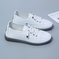 Lace Closure Rubber Sole Soft Casual Sneakers - White