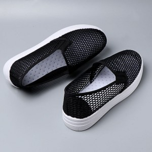 Hollow Breathable Rubber Base Slip Over Sneakers - Black