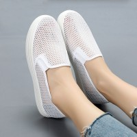 Hollow Breathable Rubber Base Slip Over Sneakers - White