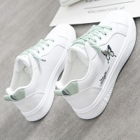 Butterfly Thread Art Lace Closure Sneakers - Green