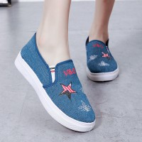 Star Printed Rubber Base Slip Over Sneakers - Blue