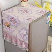Fancy Floral Printed Fridge Cover - Purple