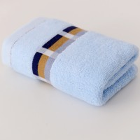 Soft Hand Feel Cotton Embroidered Face Bath Towel - Blue
