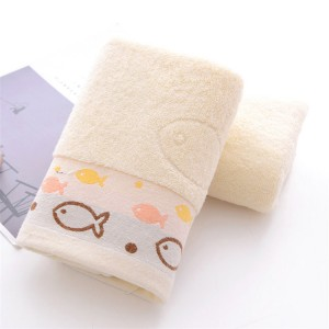 High Quality Fish Embroidered Cotton Face Towel One Piece - Yellow
