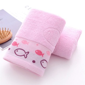 High Quality Fish Embroidered Cotton Face Towel One Piece - Pink
