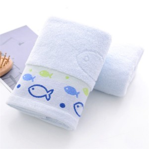 High Quality Fish Embroidered Cotton Face Towel One Piece - Sky Blue