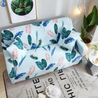Leaves Printed Stretchable Magic Sofa Covers - 190 - 230cm