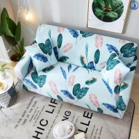 Leaves Printed Stretchable Magic Sofa Covers - 145 - 185cm