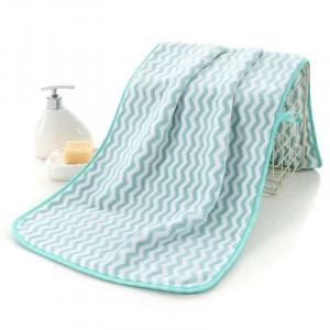 Zigzag Pattern Coral Pile Large Size Bath Towel - Sea Green