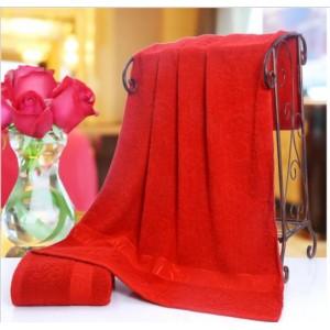 Floral Design Large Size Good Quality Bath Towel - Red