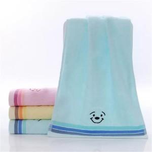 Soft Cotton Striped Face Bath Mini Towel One Piece - Sky Blue