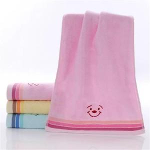 Soft Cotton Striped Face Bath Mini Towel One Piece - Light Pink