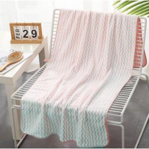 Zigzag Pattern Coral Pile Large Size Bath Towel - White Pink
