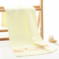 New Maple Leaf Embroidered Soft Cotton Mini Face Towel - Yellow