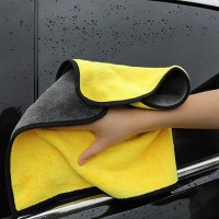High Density Coral Velvet Double Sided Car Wash Towel One Piece - Yellow