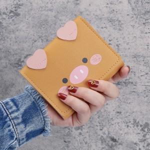 Cartoon Printed Zipper Closure Mini Card Wallet Holder