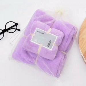 2 Pcs Package Coral Fleece Bath Towels - Purple