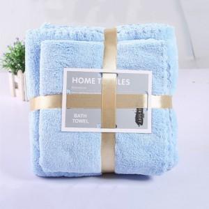 2 Pcs Package Coral Fleece Bath Towels - Blue