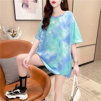 Solid Color Round Neck Loose T-Shirt - Blue