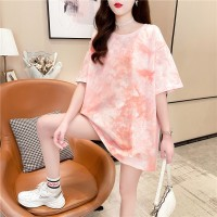 Solid Color Round Neck Loose T-Shirt - Pink