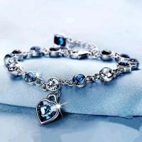 Cute Female Love Heart Crystal Bracelet - Silver
