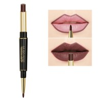 2 In 1 Waterproof Long Lasting Lip liner Hydrating Lipstick 06 - Dark Brown