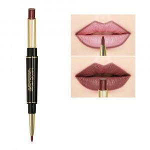 2 In 1 Waterproof Long Lasting Lip liner Hydrating Lipstick 19 - Coffee Red