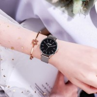Girls Casual Classic Minimalist Watch - Black Silver