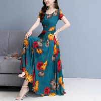 Round Neck Short Sleeves Women Fashion Long Dress  - Blue Yellow