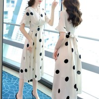 High Quality New Design Polka Dot Slim Body Dress - Beige Black