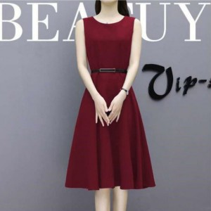 Elegant Fashion High Quality Sleeveless Girls Dresses - Dark Red
