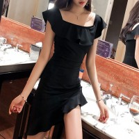 Girls Off Shoulder Collar Slim Irregular Ruffle Hem Dress - Black