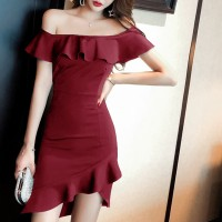 Girls Off Shoulder Collar Slim Irregular Ruffle Hem Dress - Wine Red