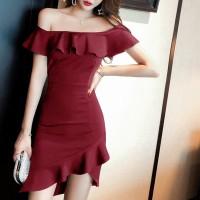 Girls Off Shoulder Collar Slim Irregular Ruffle Hem Dress - Wine Red