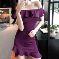 Girls Off Shoulder Collar Slim Irregular Ruffle Hem Dress - Purple