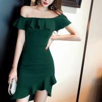 Girls Off Shoulder Collar Slim Irregular Ruffle Hem Dress - Green